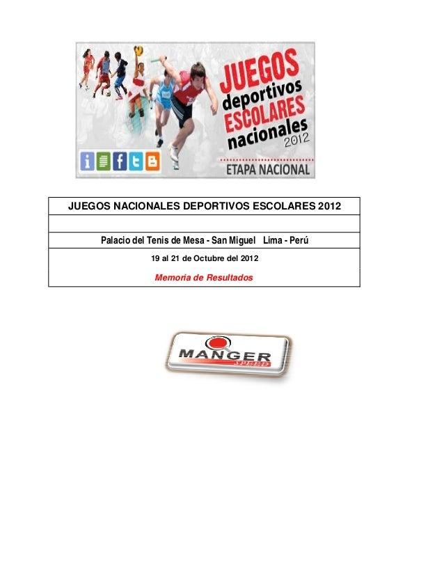 JUEGOS NACIONALES DEPORTIVOS ESCOLARES 2012     Palacio del Tenis de Mesa - San Miguel Lima - Perú                 19 al 2...