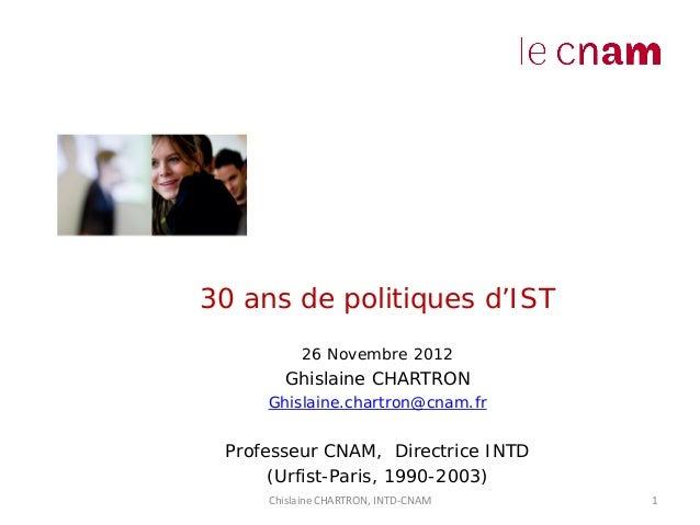 Le L'in         30 ans de politiques d'ISTDocumen            26 Novembre 2012t       Ghislaine CHARTRON              Ghisl...