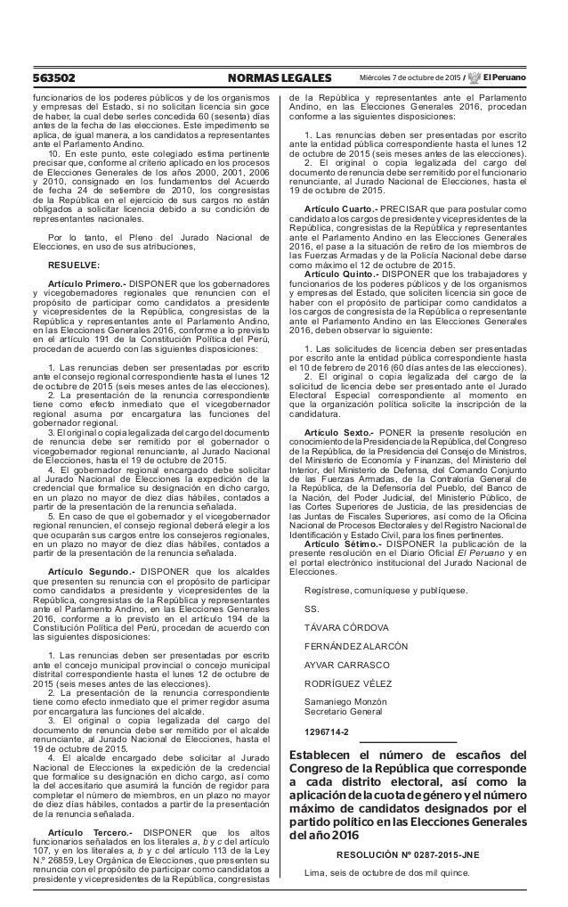 563502 NORMAS LEGALES Miércoles 7 de octubre de 2015 / El Peruano funcionarios de los poderes públicos y de los organismos...