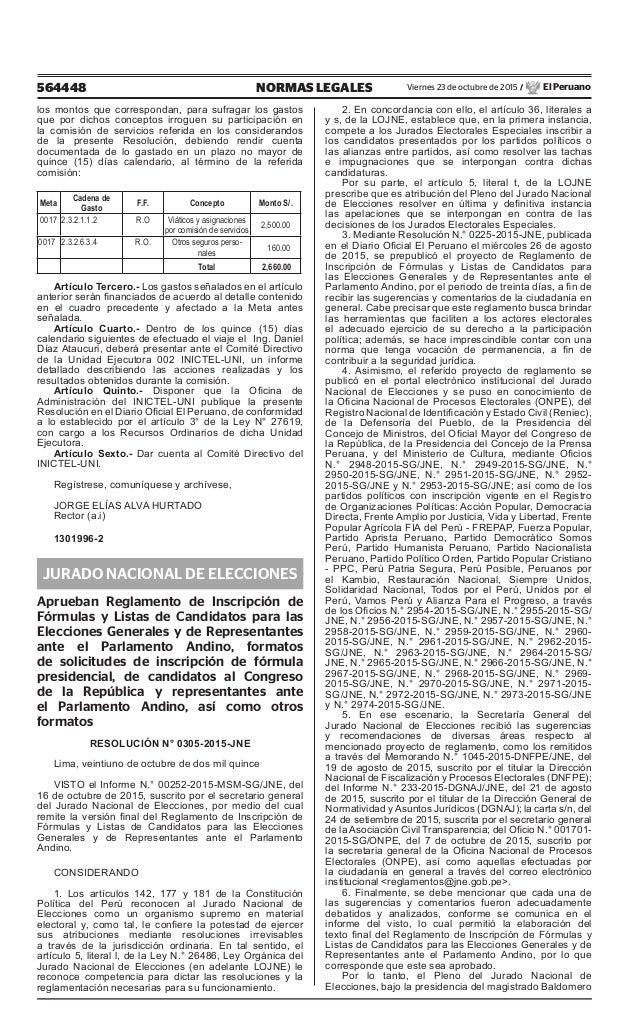564448 NORMAS LEGALES Viernes 23 de octubre de 2015 / El Peruano los montos que correspondan, para sufragar los gastos que...