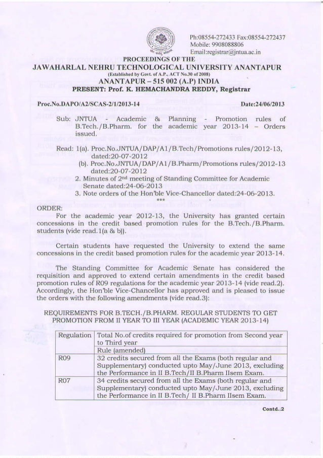 JNTUA PROMOTION RULES FOR LACK OF CREDITS STUDENTS