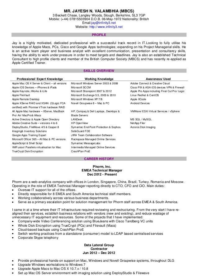 Jay's CV - 2013