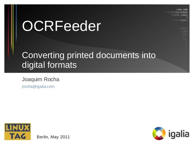 Converting printed documents into digital formats with OCRFeeder (LinuxTag 2011)