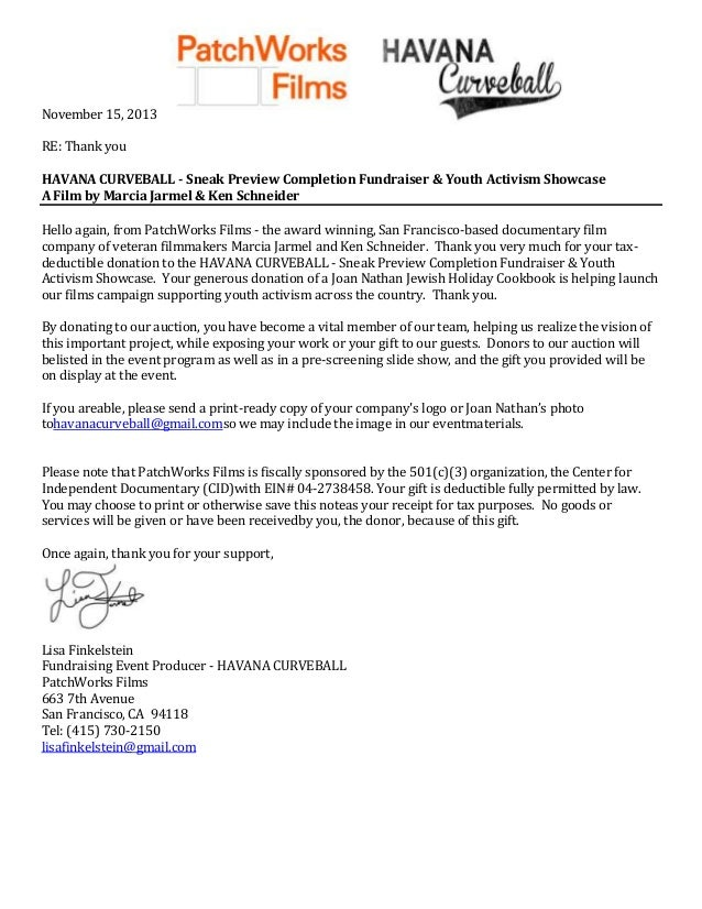 November 15, 2013 RE: Thank you HAVANA CURVEBALL - Sneak Preview Completion Fundraiser & Youth Activism Showcase A Film by...