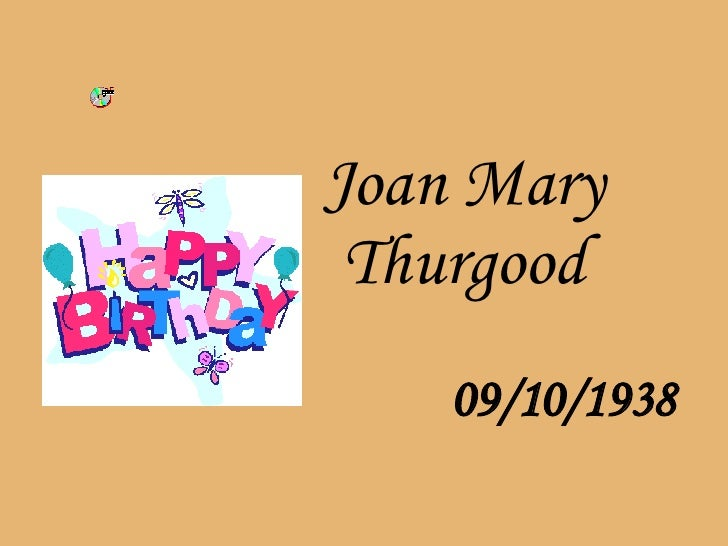 Joan Mary Thurgood   09/10/1938