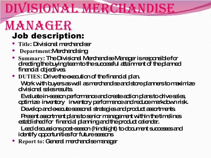Job Description For Merchandiser Visual Merchandiser Sample Resume