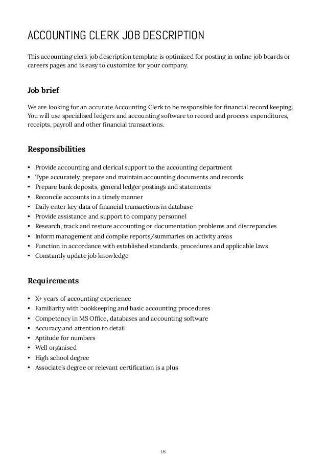 job description for accounting clerk accounting clerk resume sales – Accounting Clerk Job Description
