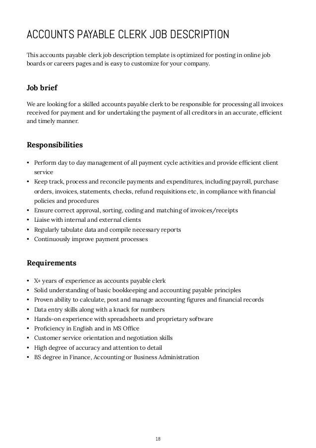 Accounts Receivable Manager Job Description. Accountant Clerk ...