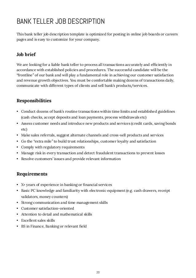 how to write job descriptions    accounting or business administration      bank teller job description