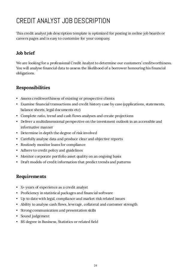 risk analyst job description bank 3. credit analyst job ...