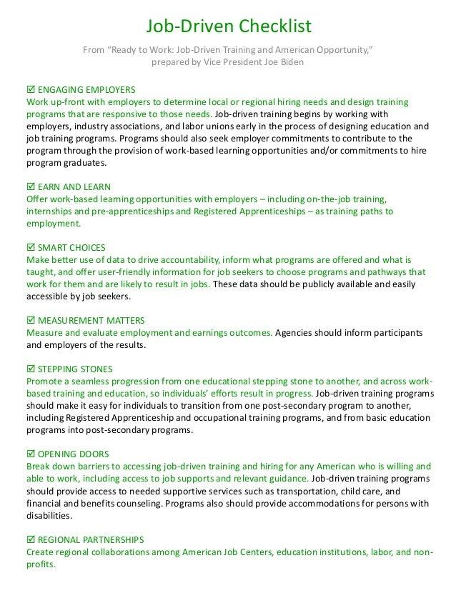 """Job Training Checklist Job-driven Checklist From """""""