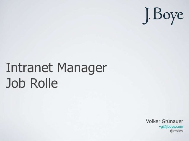 Job Rolle eines Intranet Managers