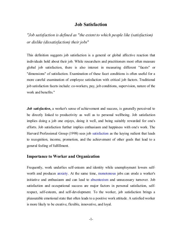 Research paper on employee satisfaction