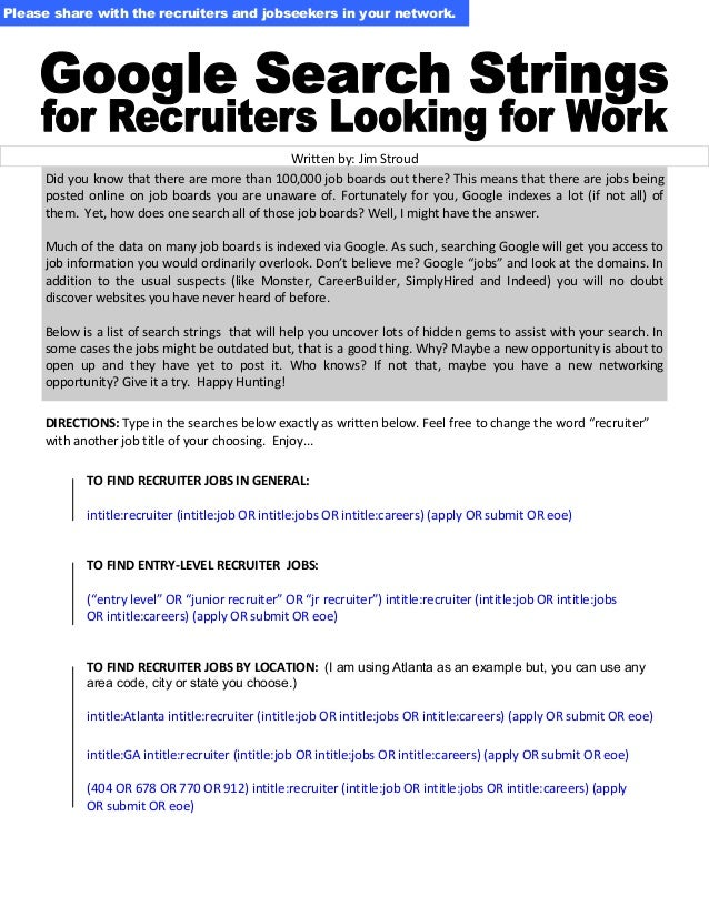 Google Search Strings for Recruiters Looking for Work
