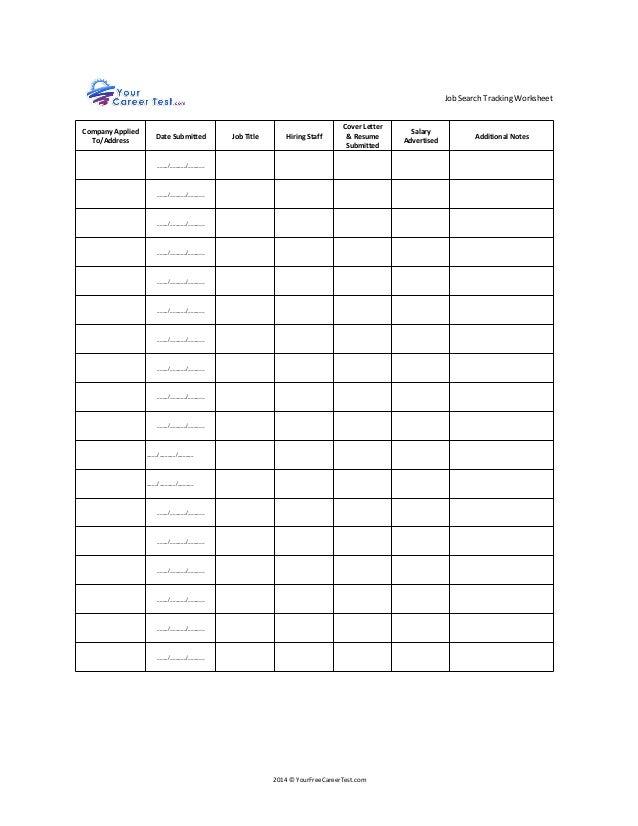 Job Search Worksheet - Secretlinkbuilding