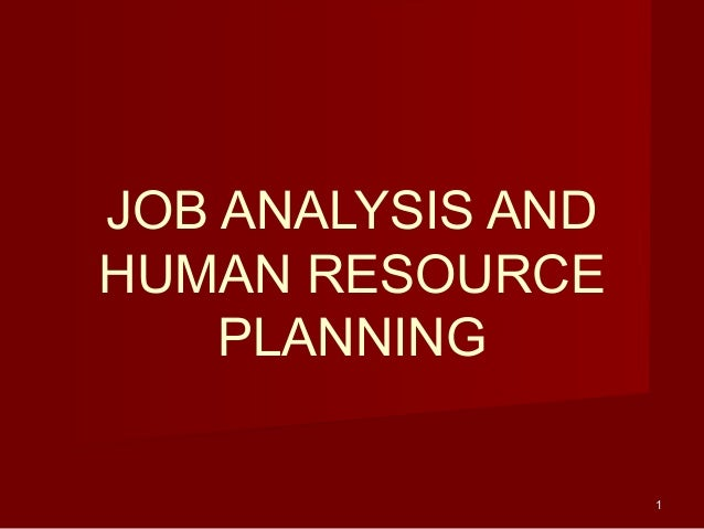 11 JOB ANALYSIS AND HUMAN RESOURCE PLANNING