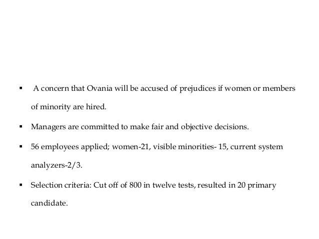 ovania case analysis 6/11/2013 job analysis and hiring decisions at ovania chemical mba 509- section 4 tahira khan (1110877) rajin haq (1110878) md abdullah saleh.