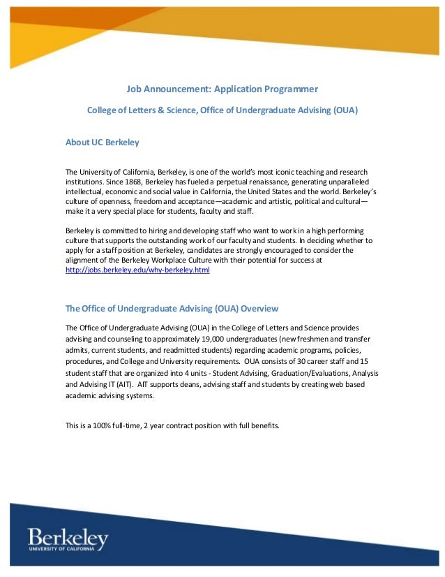 Application Programmer for UC Berkeley's College of Letters & Science ...