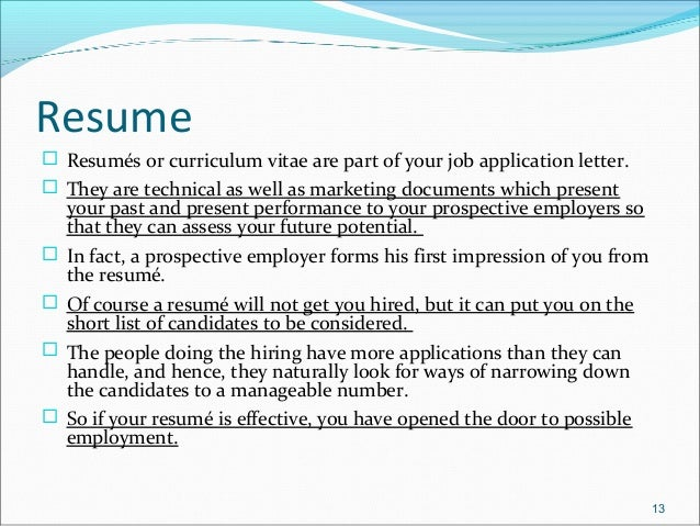 what does resume mean for a job