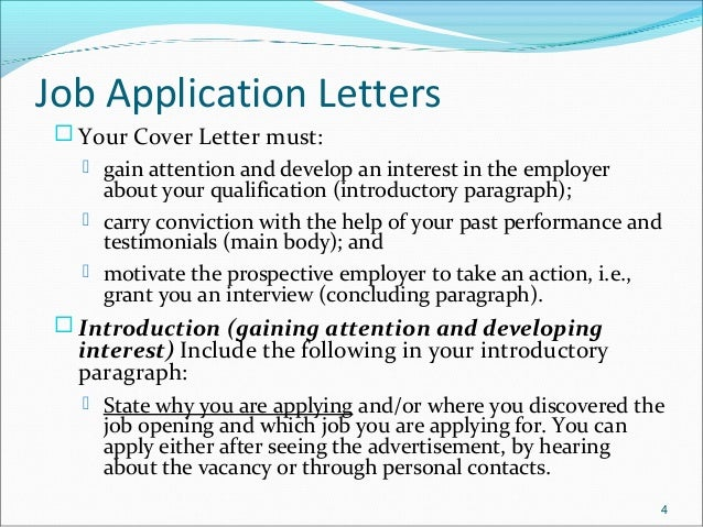 job vacancy application letter and cv