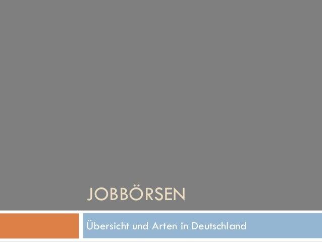 JOBBÖRSEN Übersicht und Arten in Deutschland