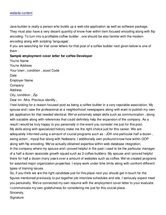 Cover letter barista