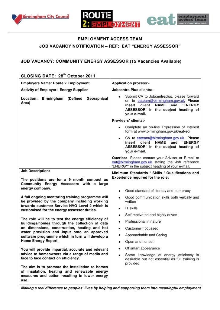 "EMPLOYMENT ACCESS TEAM            JOB VACANCY NOTIFICATION – REF: EAT ""ENERGY ASSESSOR""JOB VACANCY: COMMUNITY ENERGY ASSES..."