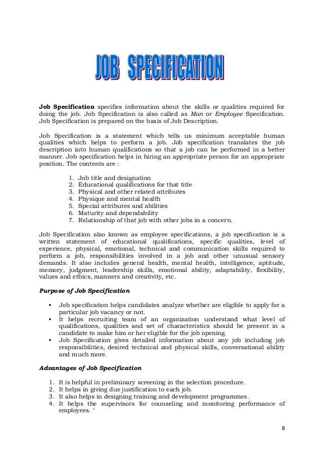 Job description and job specification