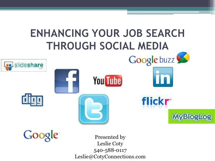 ENHANCING YOUR JOB SEARCH THROUGH SOCIAL MEDIA<br />Presented by<br />Leslie Coty<br />540-588-0117<br />Leslie@CotyConnec...