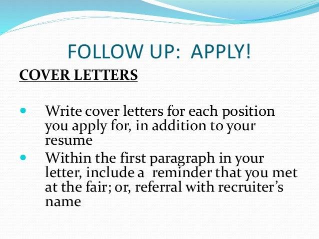 how do i write a cover letter for a job fair