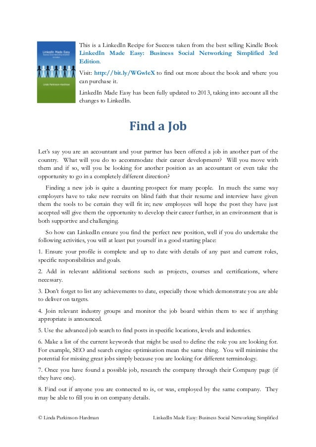 Job hunting - LinkedIn Recipe for Success