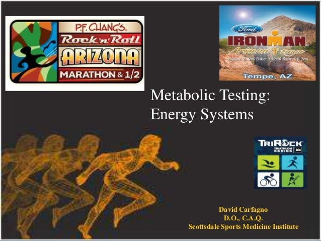 Metabolic Testing: Energy Systems  David Carfagno D.O., C.A.Q. Scottsdale Sports Medicine Institute