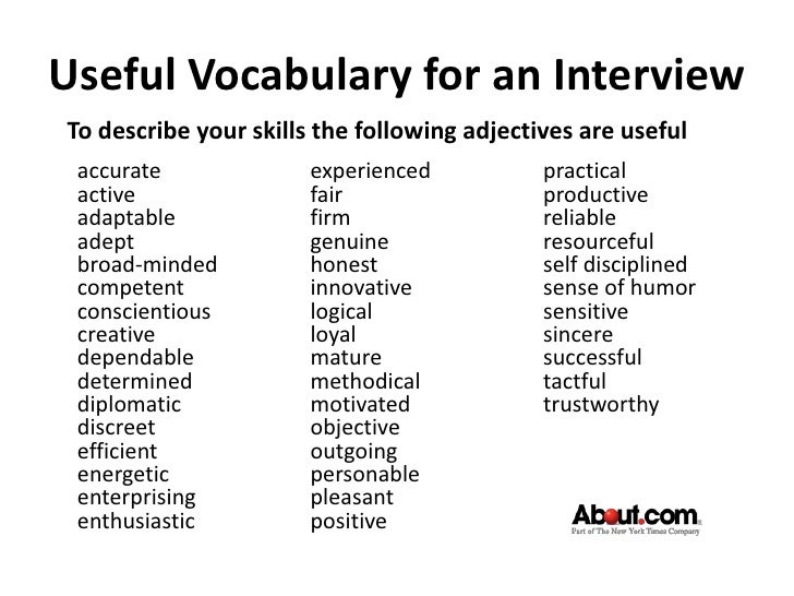 Job Interview Lesson For Esl