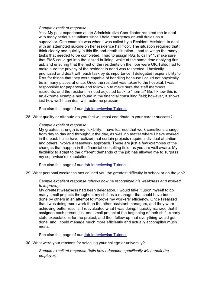 job interview essay questions Page 2 overview introduction in the last lesson, you learned how to write a job description in this lesson, you'll learn how to write interview questions based on that job description.