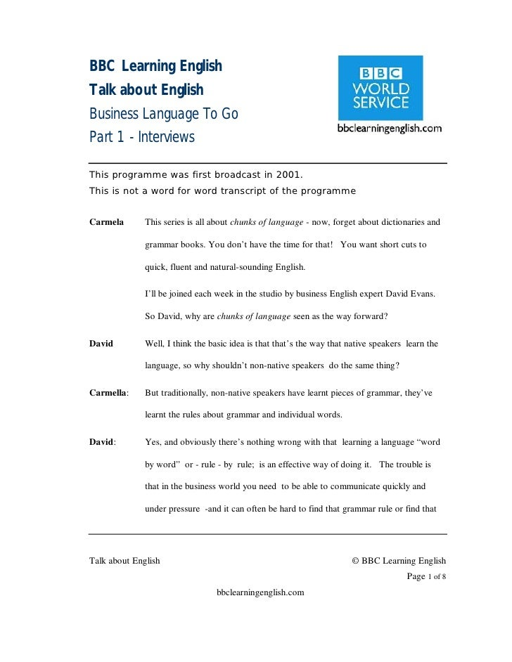 BBC Learning English Talk about English Business Language To Go Part 1 - Interviews  This programme was first broadcast in...