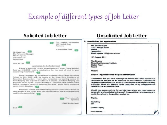 Unsolicited Job Application Letter Example