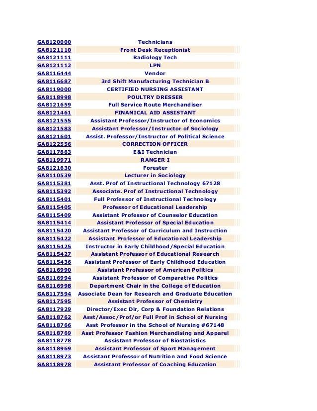 GA8120000 Technicians GA8121110 Front Desk Receptionist GA8121111 Radiology Tech GA8121112 LPN GA8116444 Vendor GA8116687 ...