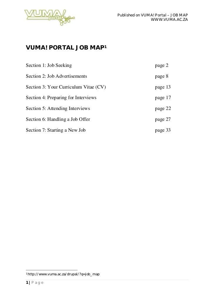 Published on VUMA! Portal – JOB MAP                                                              WWW.VUMA.AC.ZAVUMA! PORTA...
