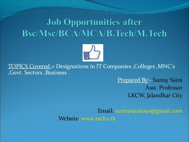 TOPICS Covered = Designations in IT Companies ,Colleges ,MNC's ,Govt. Sectors ,Business . Prepared By:- Sunny Saini Asst. ...