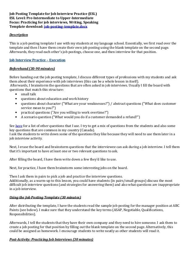 internal job posting template .