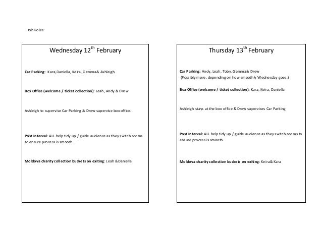 Job Roles:  Wednesday 12th February  Thursday 13th February  Car Parking: Kara,Daniella, Keira, Gemma& Ashleigh  Car Parki...