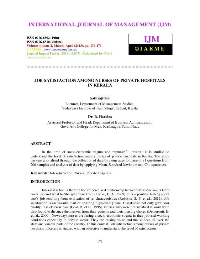 thesis on job satisfaction among nurses Job satisfaction and absenteeism among staff and absenteeism among staff nurses acknowledgement to this thesis research adiwayu ansar zainuddin.