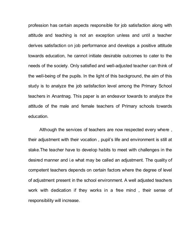 review of literature on job satisfaction of teachers Teachers job satisfaction and  and literature review employee job satisfaction and  to motivate teachers in terms of job satisfaction and job.