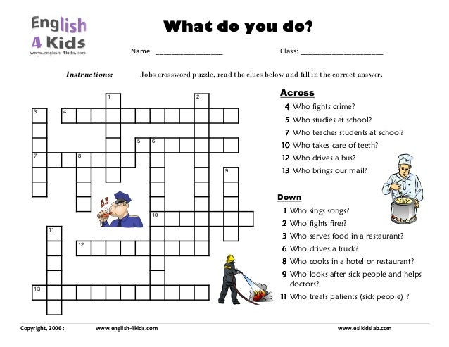 Jobs crossword puzzle
