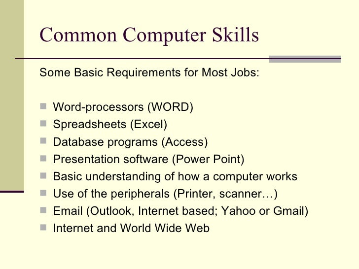 computer skills for a resumes
