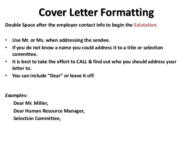 how to space a cover letter