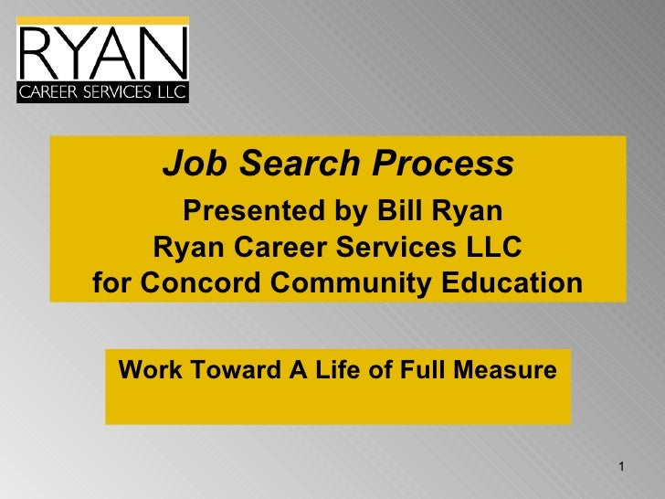 Job Search Process   Presented by Bill Ryan Ryan Career Services LLC for Concord Community Education Work Toward A Life of...