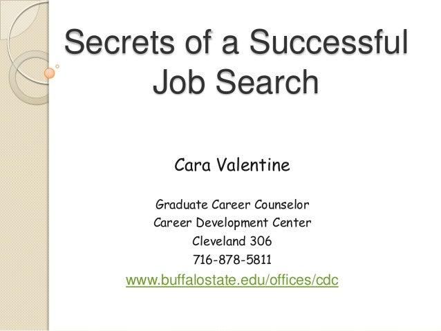 Secrets of a SuccessfulJob SearchCara ValentineGraduate Career CounselorCareer Development CenterCleveland 306716-878-5811...