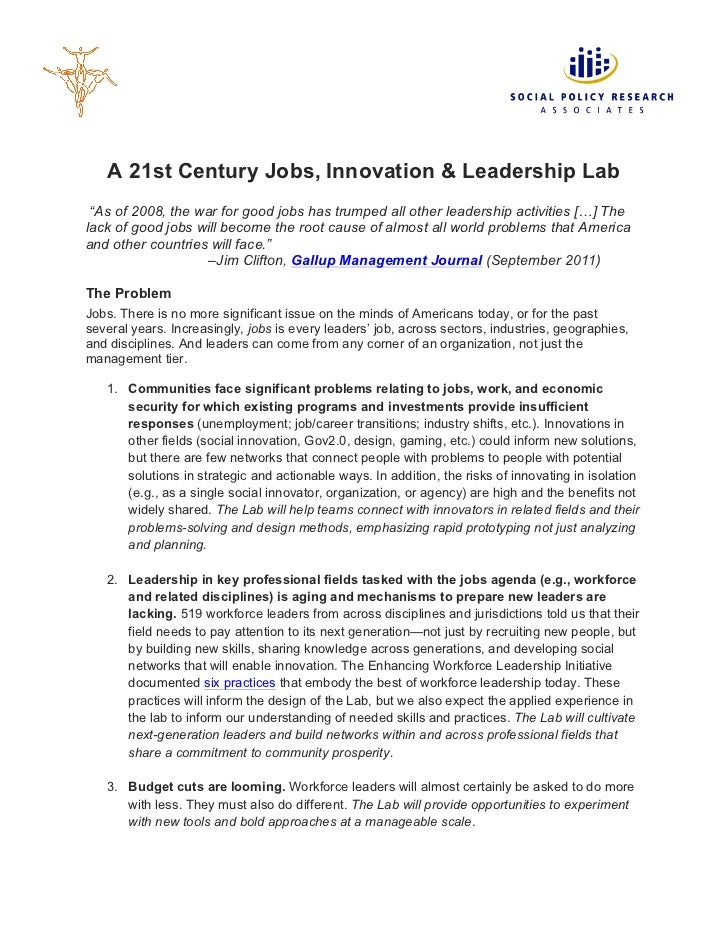 """A 21st Century Jobs, Innovation & Leadership Lab """"As of 2008, the war for good jobs has trumped all other leadership activ..."""