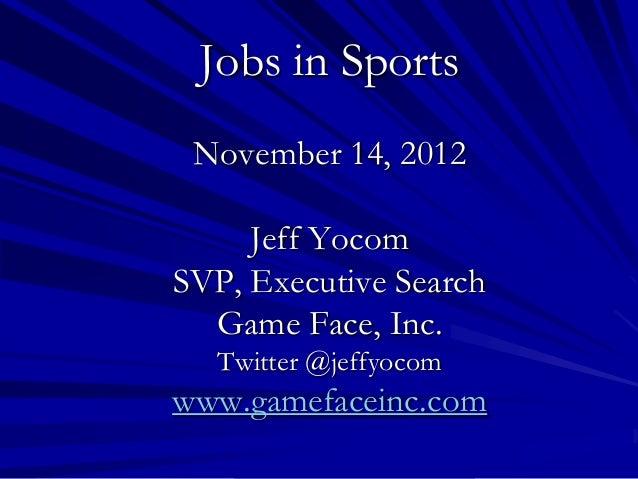 Jobs in sports 111412 upload